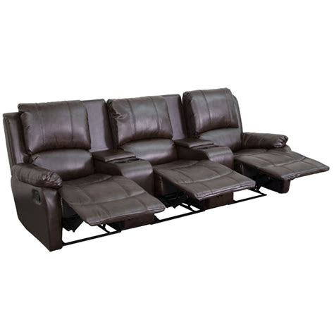 3 seat leather recliner 3 seat leather reclining home theater seating in brown