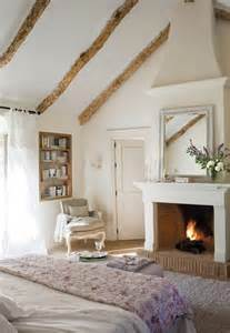 wood beams layers of white cozy fireplace home