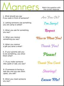 manners matching worksheet repinned by pediastaff