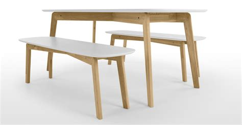table and benches set dante dining table and bench set oak and white made com