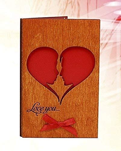Handmade Real Wood Card Love You He and She (Soulmates) as