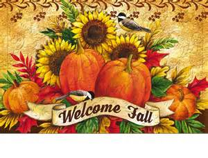 Commercial Rugs Floral Embossed Welcome Fall Sunflowers Doormat 19 X 30