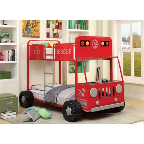 fire truck bunk bed furniture of america petar twin over twin fire truck bunk