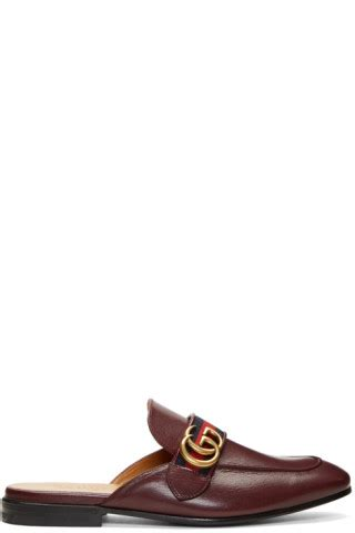 Slip On Gucci Maroon Ds gucci burgundy gg slip on loafers ssense