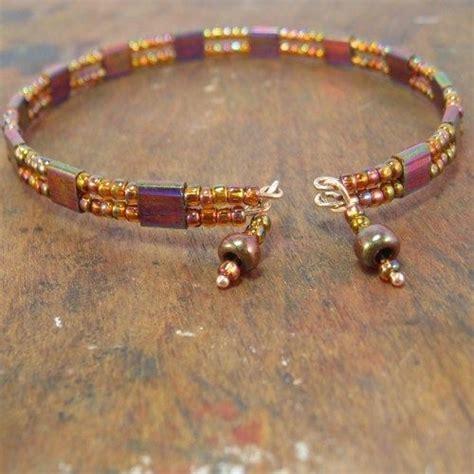 cable bead miyuki tila and seed bead memory wire bracelet wtih dangles