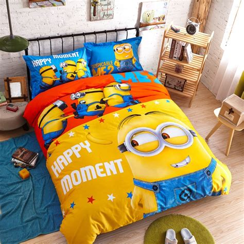 minion toddler bed set 100 cotton cute minion bedding set cartoon duvet cover
