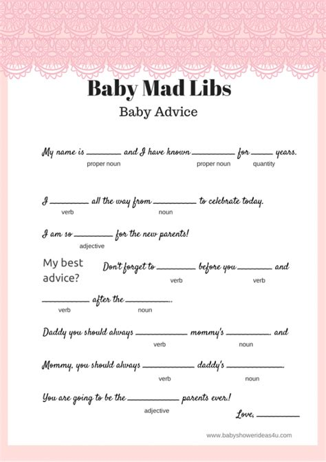 baby shower mad libs printable shabby chic baby shower theme ideas baby shower ideas