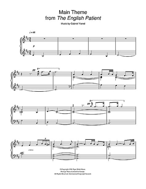 themes the english patient main theme from the english patient sheet music by