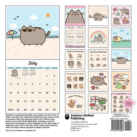 Cat Calendar Pusheen The Cat 2016 Wall Calendar