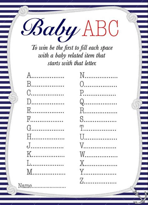 printable alphabet game for baby shower nautical baby abc baby shower game free printable