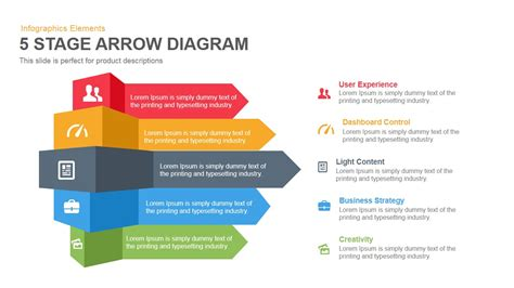 5 Stage Arrow Diagram Powerpoint Keynote Template Ppt Chart