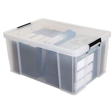 plastic file box allstore strong storage box large 70lt strong filing storage