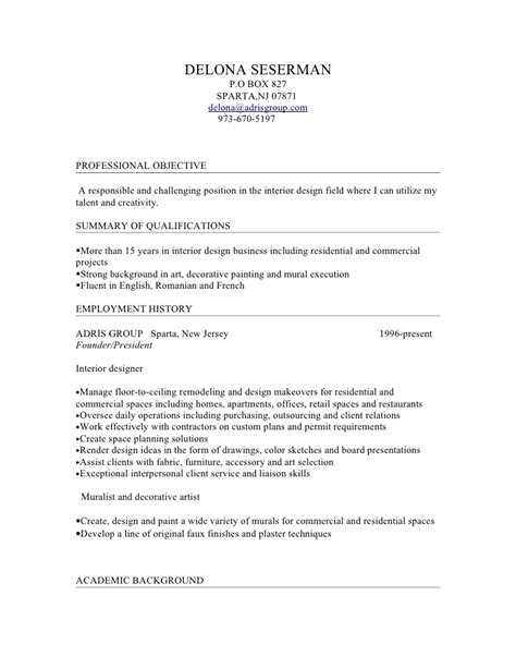Interior Designer Resume Summary Sle Delona Interior Design Resume