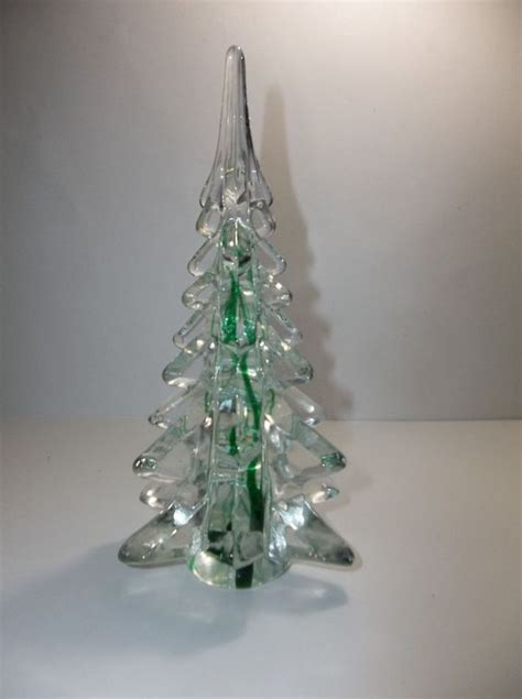 vintage art glass christmas tree crystal clear green