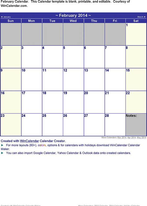 february 2014 calendar download free premium templates