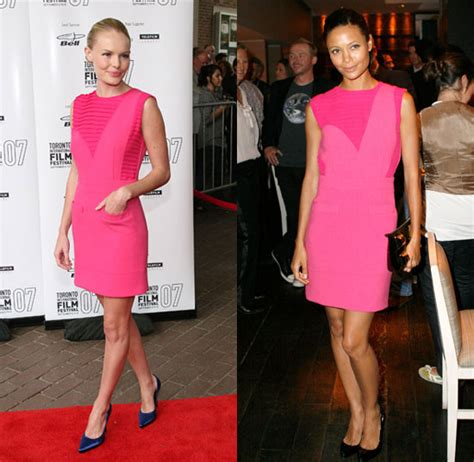 Who Wore It Better Kate Bosworth Vs Thandie Newton In Preen by Who Wore It Better Pink Preen Dress Popsugar Fashion