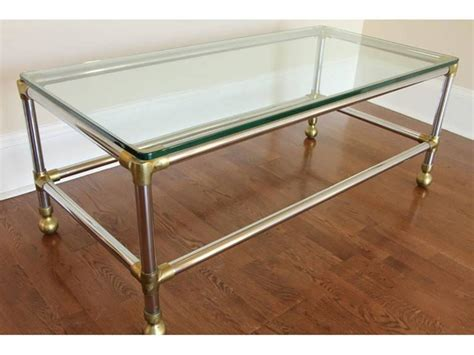 Industrial Cocktail Table by Chrome And Brass Industrial Style Cocktail Table For Sale