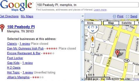 peabody place address search  google maps screengrab