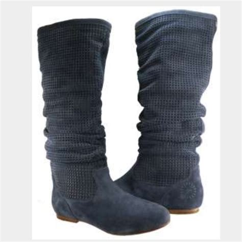 30 ugg shoes ugg blue suede slouch flat boots from