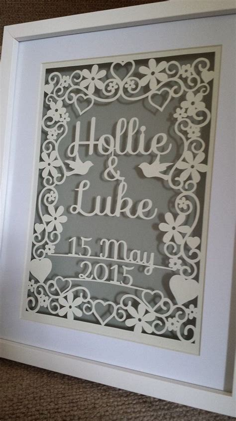 Personalised wedding papercutting template by