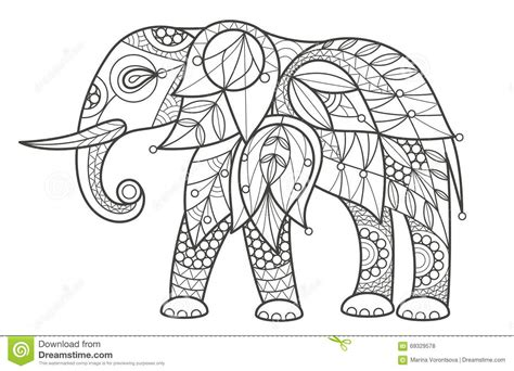 india animals coloring pages coloring elephant stock vector image 69329578