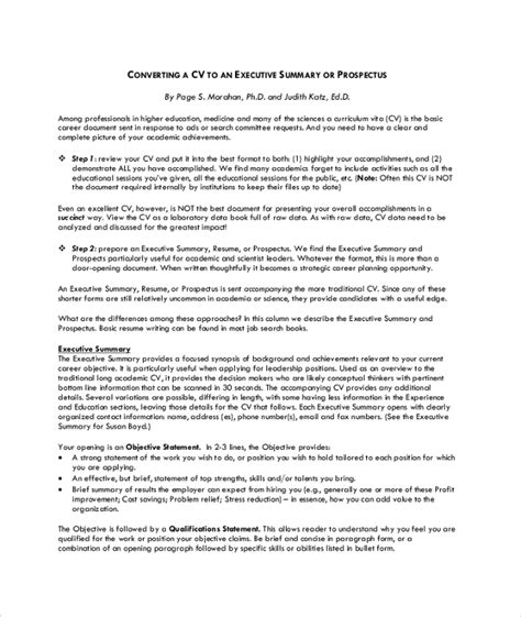 Executive Summary Resume by 8 Resume Summary Sles Exles Templates Sle