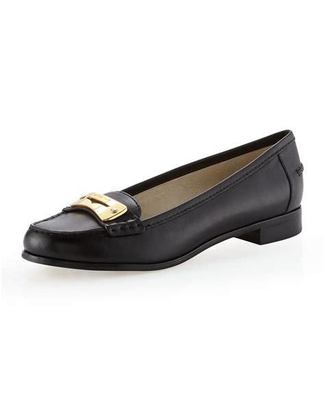 michael kors womens loafers michael michael kors tierlyn leather loafer in black lyst