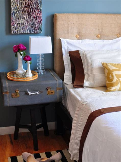 Blue Bedroom Trunk Trunk Nightstand Suitable Furniture Storage Bins And