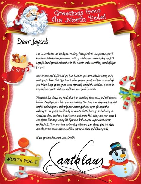 Free Letters From Santa Claus By Mail Letter Of Custom Letter From Santa Template