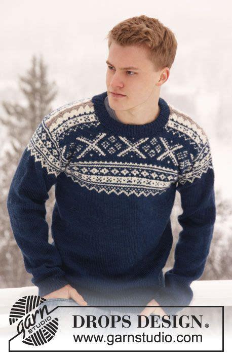 norwegian pattern jumper knitted drops men s jumper with norwegian pattern in
