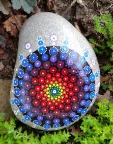 Painted Garden Rocks Painted Garden Rock Mandala Sacred Geometry By Lisafrick On Etsy S Creations