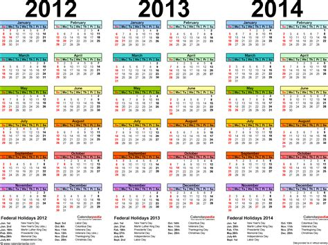 Calendar Of 2012 2012 2013 2014 Calendar 2 Three Year Printable Pdf Calendars