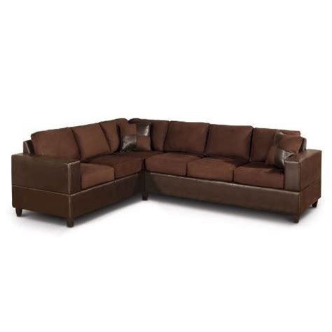 brown chocolate sectional sofa in microfiber and faux