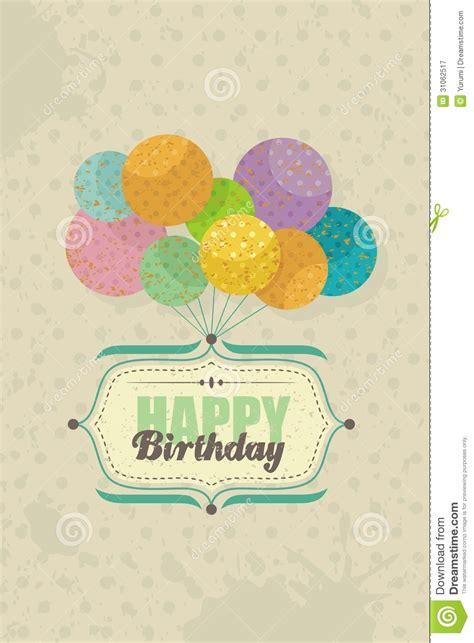 imagenes vintage happy birthday cart 227 o do feliz aniversario com bal 245 es ilustra 231 227 o do vetor