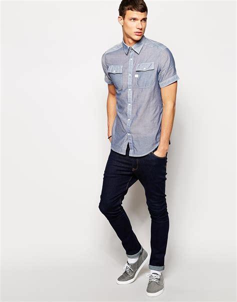 mens light chambray shirt lyst g star raw g star shirt landoh short sleeve light
