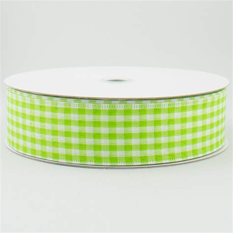 1 5 quot gingham check wired ribbon lime green white 50