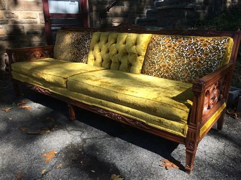 old wooden couch long yellow pattern upolstered wood frame sofa