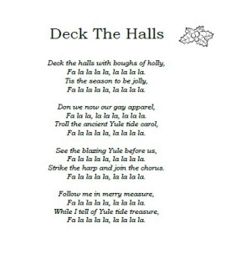 printable lyrics for deck the halls christmas carol lyrics deck the halls ichild