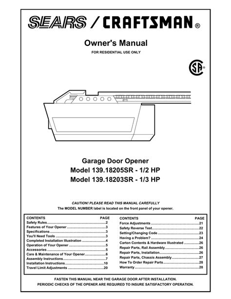 Craftsman Garage Door Opener 139 539 Craftsman Garage Door Opener 41a4315 7c Manual Wageuzi