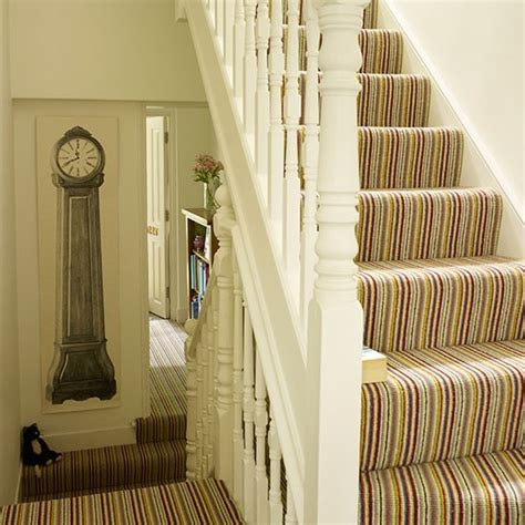 Yellow Kitchen Clock - white hallway with striped statement carpet decorating housetohome co uk