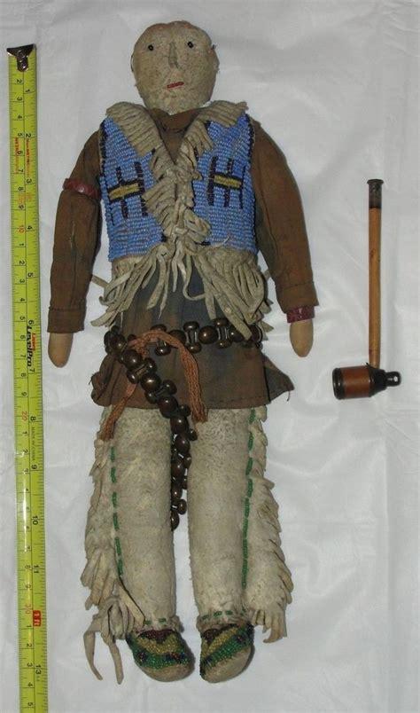 Handmade Indian Dolls - vintage antique beaded on hide american 1800 s