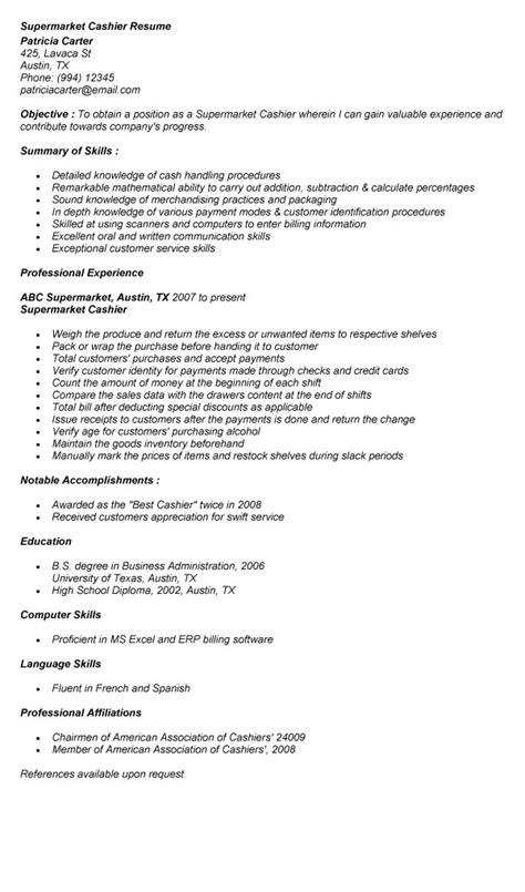grocery store cashier description for resume free