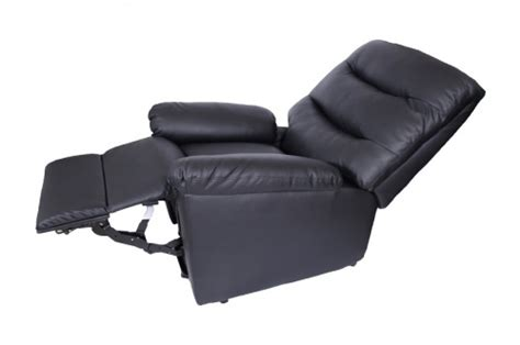 Single Leather Reclining Armchair Single Motor Black Leather Rise Recliner Fc Er 001 Bl