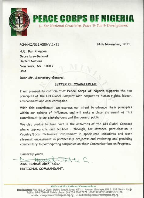 Commitment Letter For Ngo Peace Corps Of Nigeria Un Global Compact