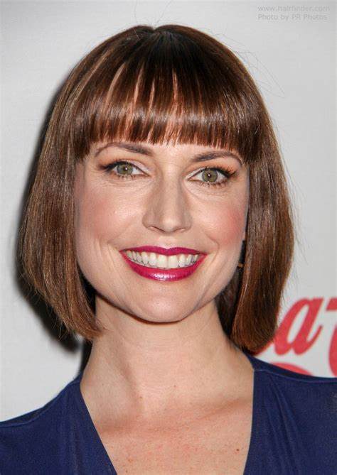 hairstyles with banes cut to eyebrows julie ann emery s bob haircut with thick right above the
