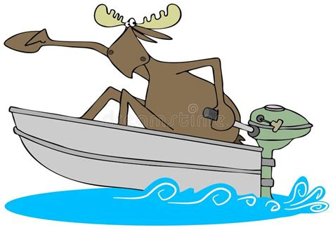 boat motor clipart frightened moose in a motor boat stock illustration