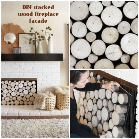 Diy Fireplace Facade by Diy Faux Stacked Log Fireplace Facade Crafty