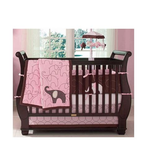 pink elephant crib bedding set s elephant pink 4 crib bedding set