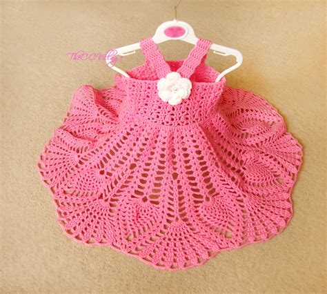 Handmade Crochet Baby Dress - pink crochet baby dress handmade dress white flower