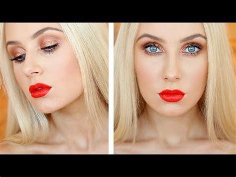 eyeshadow tutorial lauren curtis copper sparkle flirty red lips makeup tutorial lauren